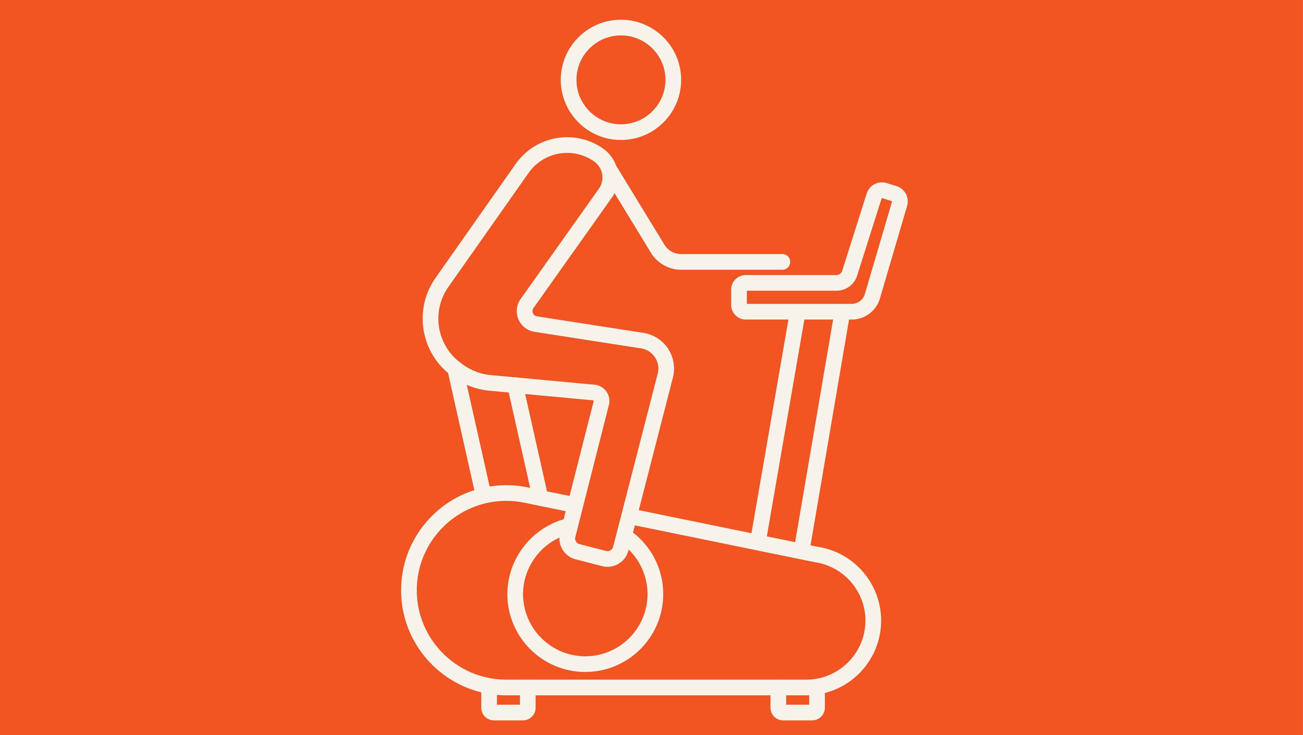 Man training on exercise bike line icon.