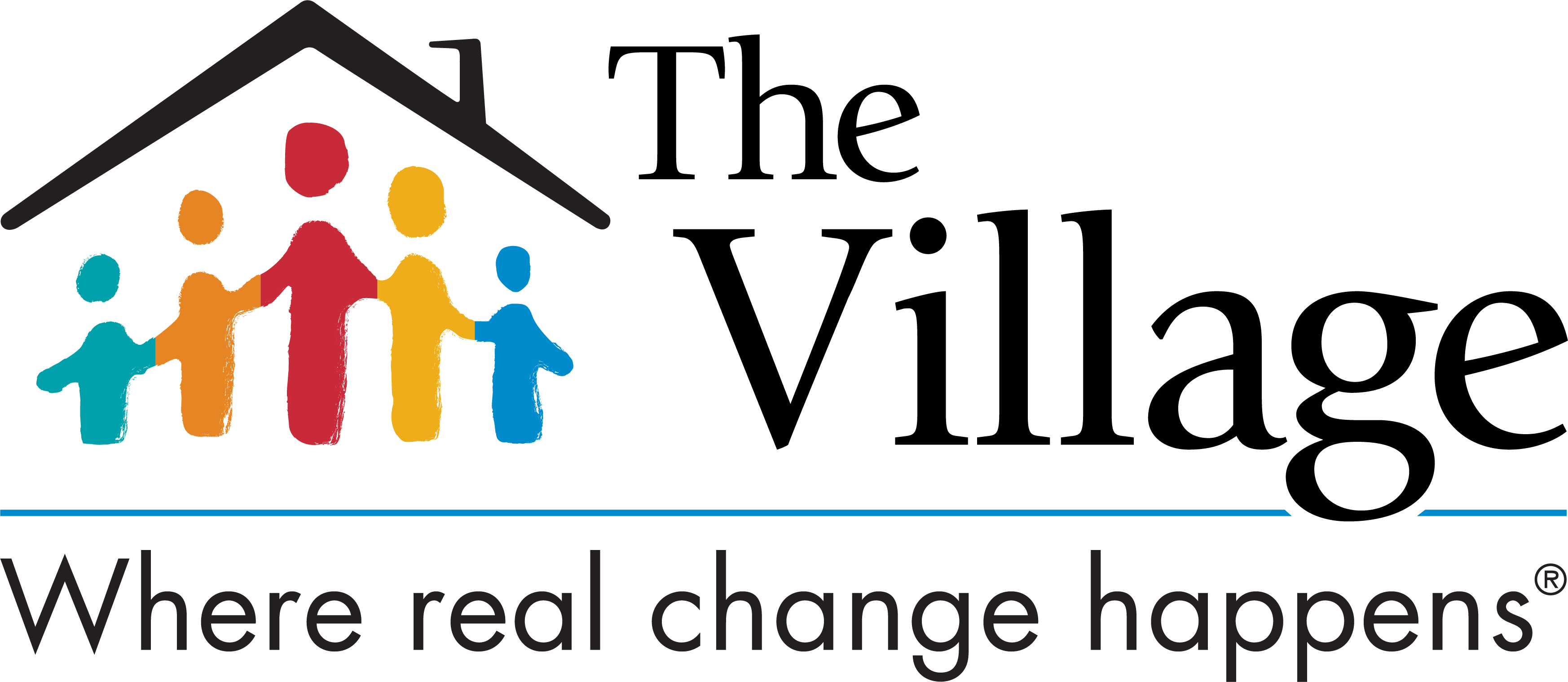 The Village logo - house with stick figures in it