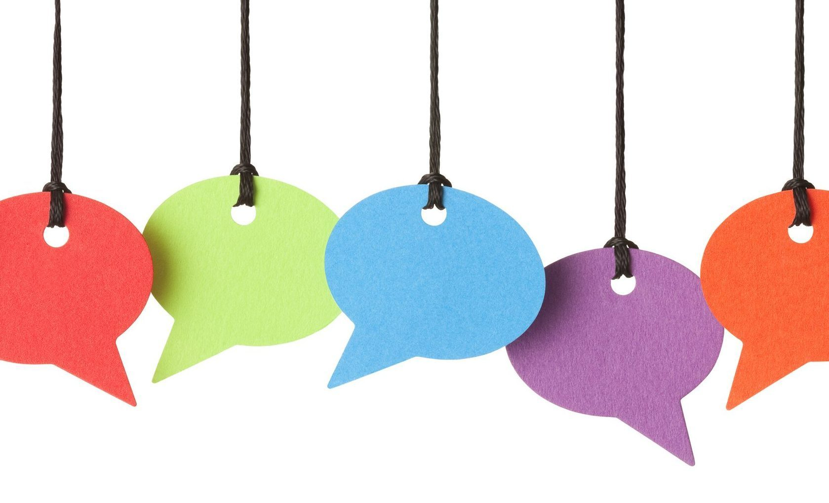 Six blank speech bubbles hanging from thread,
