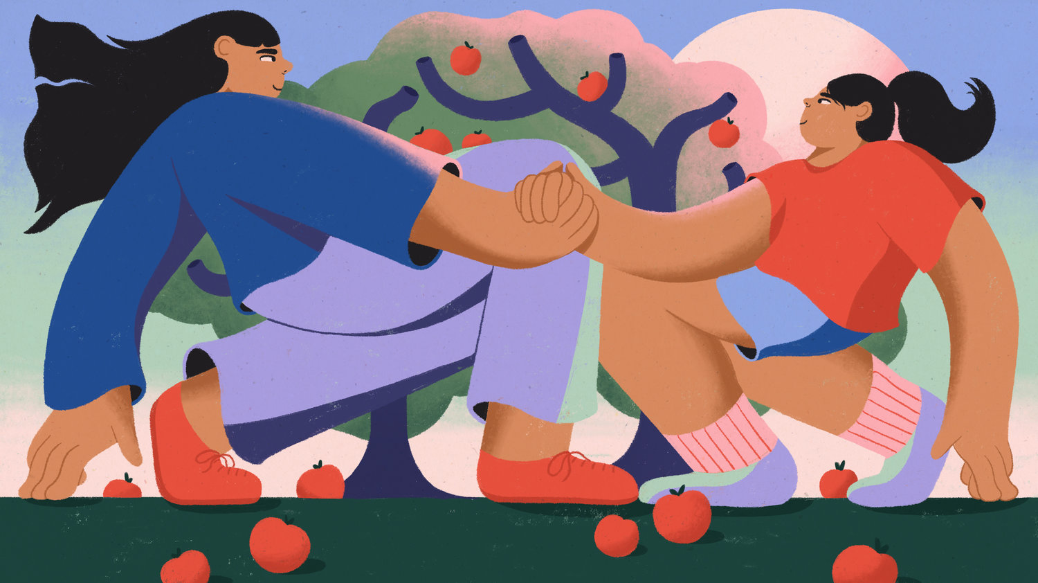 cartoon parent and child holding hands in front of apple tree