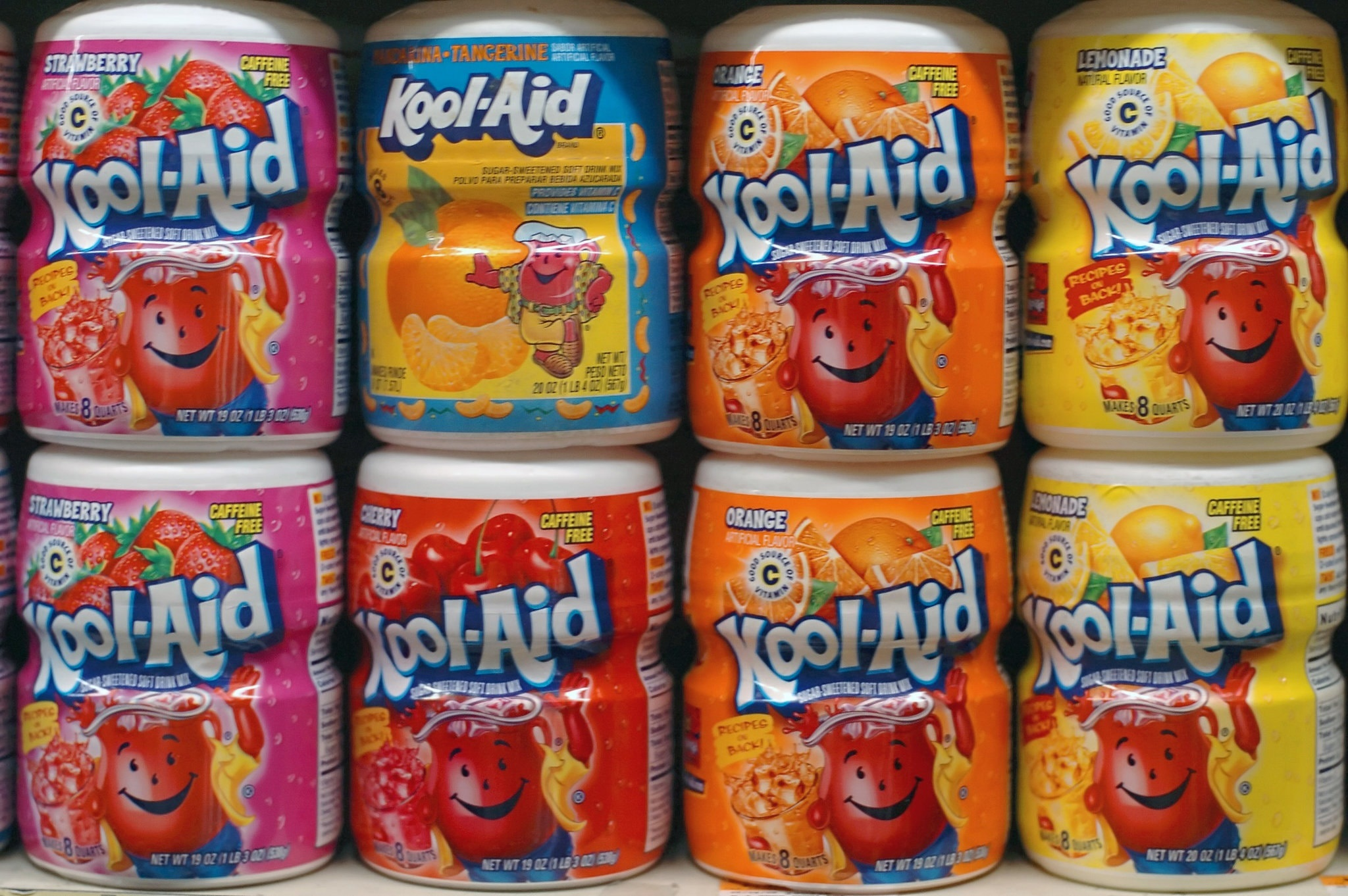 Kool-Aid containers on shelf