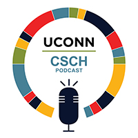 UConn CSCH Podcast logo with cartoon microphone surrounded by colorful circle