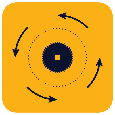 point in gear circle with arrows going around counter-clockwise