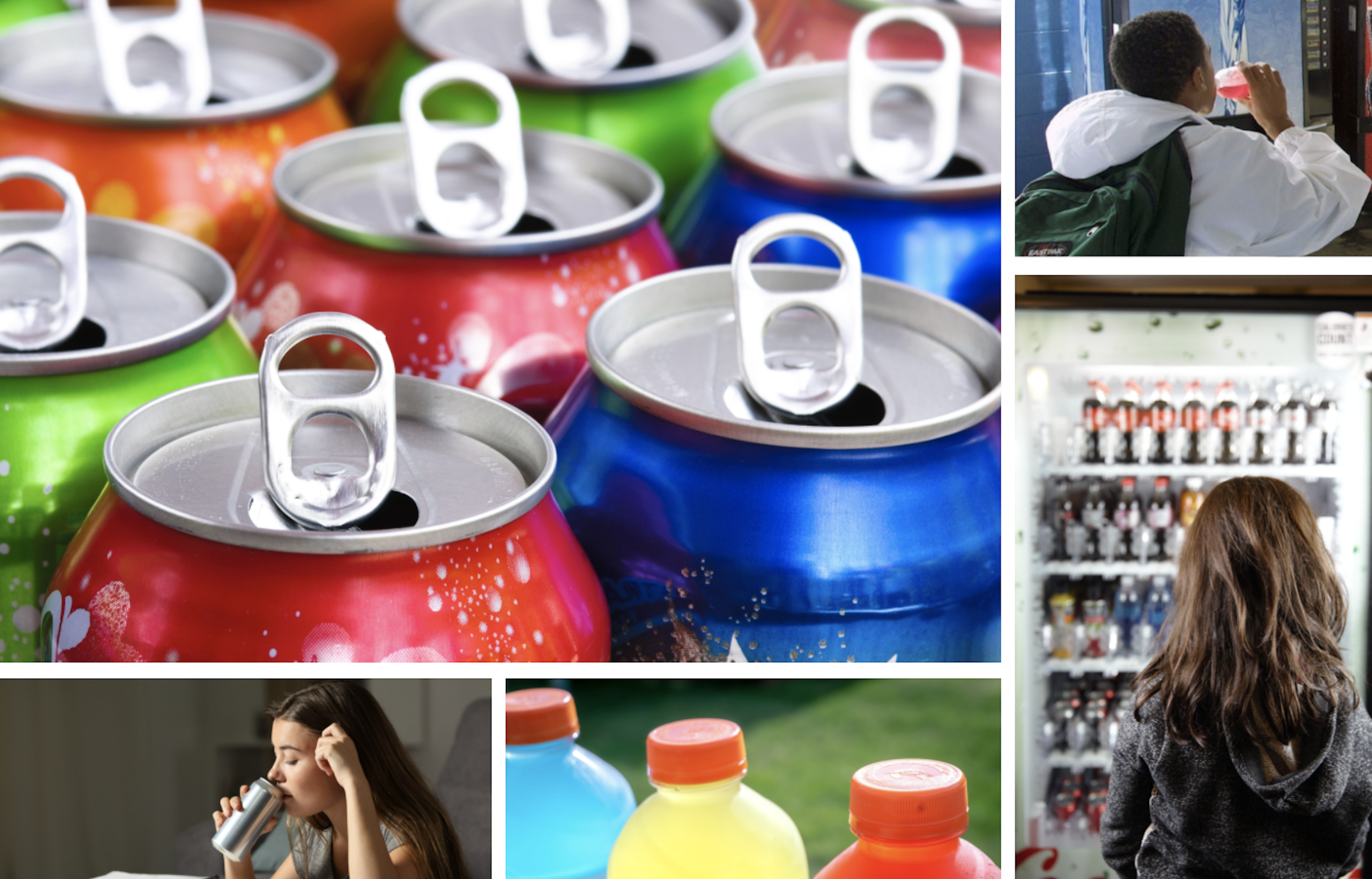 FCollage of various types of sugary drinks