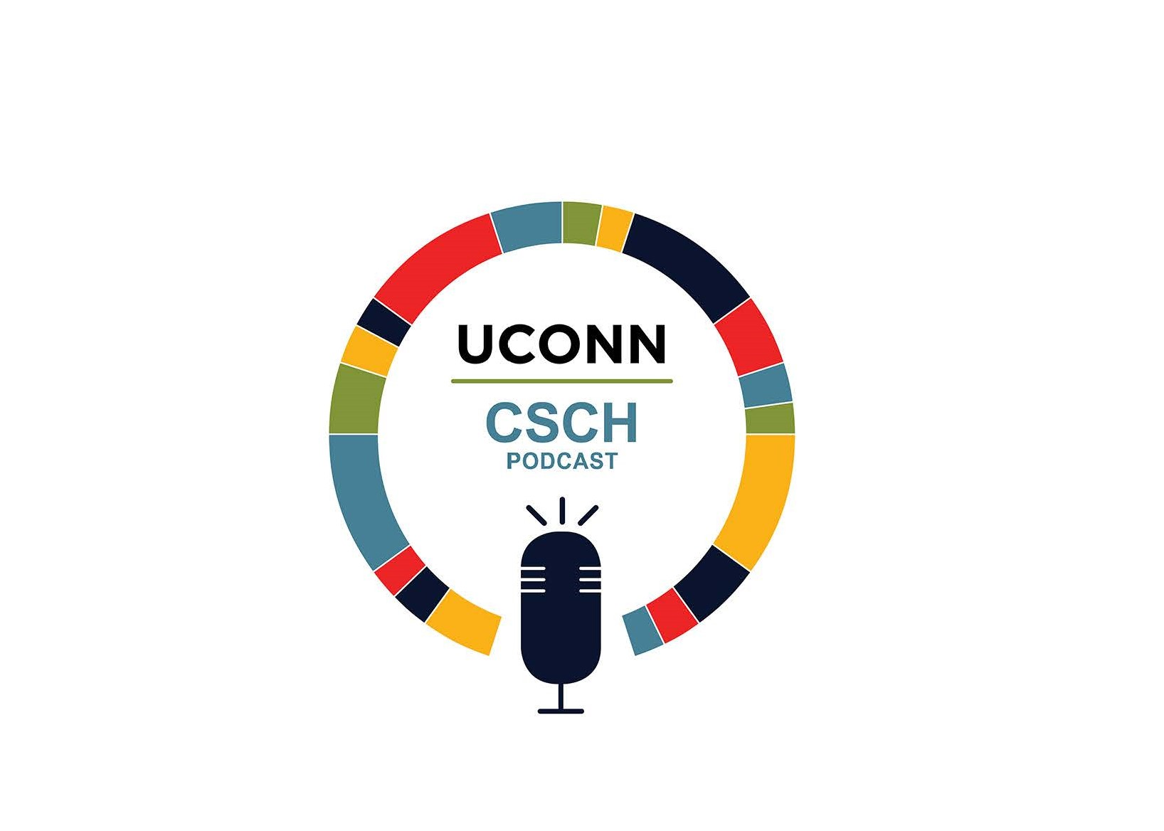 Words UConn CSCH Podcast encircled by colorful ring above cartoon microphone
